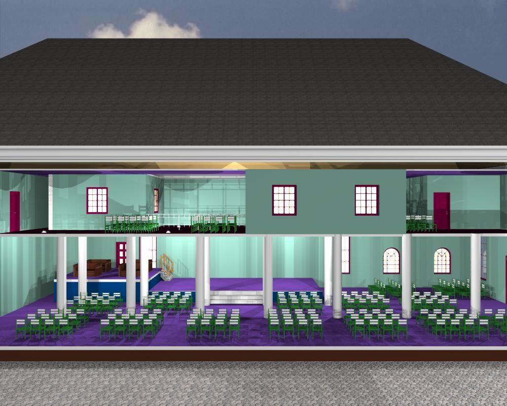 Palace Fire Church Building 3D Image 3